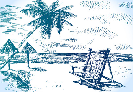 sketch beach with palm trees Vector