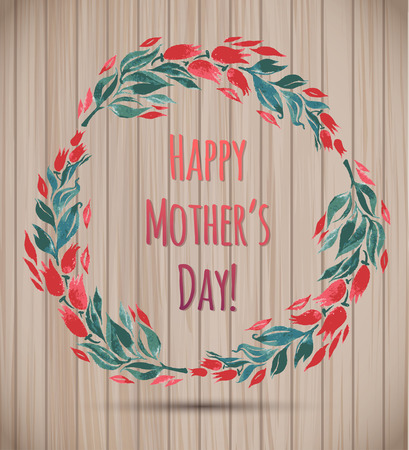 Watercolor Flower Wreath Happy Mothers Day Card! Vector