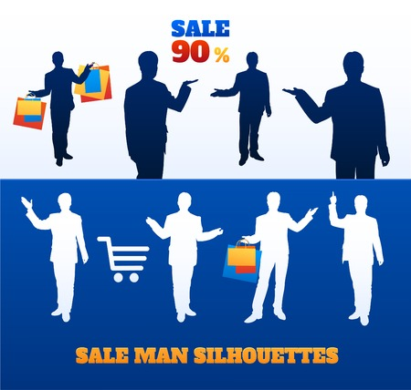 stock quotes: Vector silhouettes of men sellers with paper bags in their hands. conceptual illustration of business and sales. man the seller offers the buyer a discount Illustration