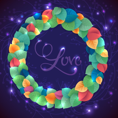 Abstract rainbow leaf vector wreath. Magic stars around the illustration Vector