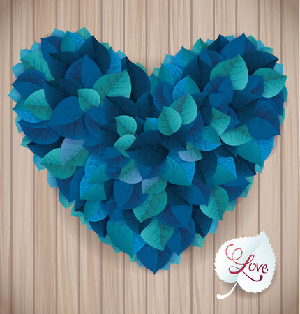 Abstract blue heart leaf vector background on the wooden planksΠVector