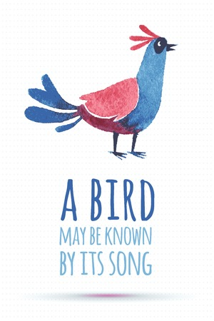 ecoration: doodle vector watercolor bird cute quote illustration