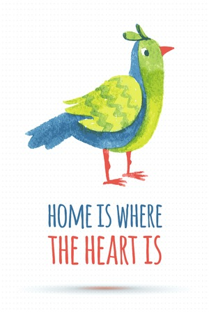 ecoration: doodle vector watercolor bird cute quote illustration