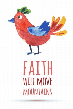 proverbs: doodle vector watercolor bird cute quote illustration