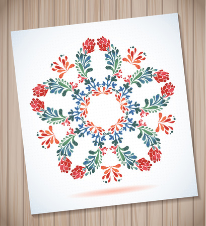 chabby: Watercolor frame with leaves and flowers  with room for your text  Illustration