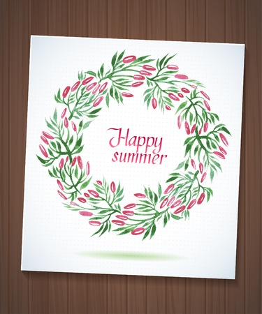 happy summer: Happy Summer watercolor floral wreath with paper cut flower on wood planks Greeting card background