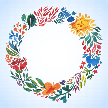 Watercolor frame with leaves and flowers  with room for your text  Vector
