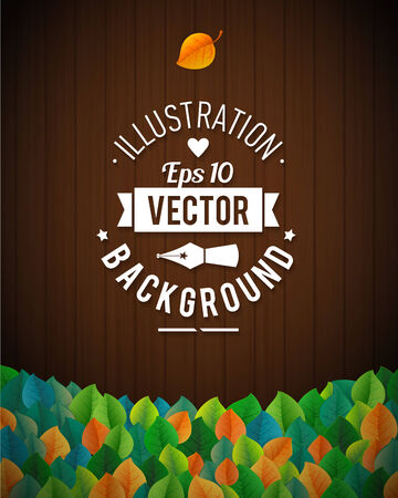 Natural background with wooden board and leaves. Vector EPS 10 illustration. Wooden planks ans orange and green leaves  Vector