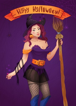 Pretty Halloween Witch Vector