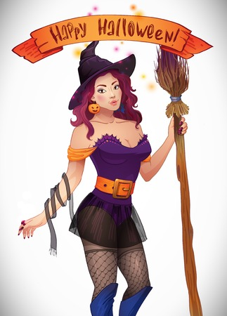 sexy halloween: Pretty Witch Halloween. Sexy girl with a broom and a hat. Greeting card Happy Halloween. Web and ribbon with the inscription