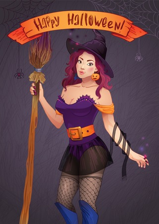 Pretty Witch Halloween. Sexy girl with a broom and a hat. Greeting card Happy Halloween. Web and ribbon with the inscription