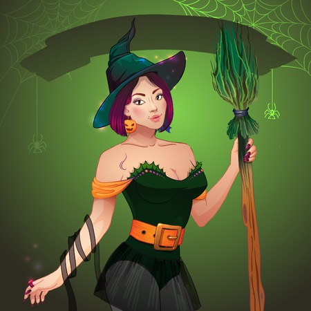 Pretty Witch Halloween. Sexy girl with broom and hat. Greeting card Happy Halloween. Vector