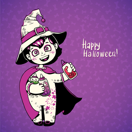 witchcraft: Little girl witch holding baby bottles with witchcraft potions. Happy Halloween card Illustration