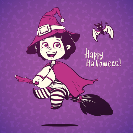 cosplay: Baby Dressed in a Halloween Witch Costume. Little girl flying on a broom