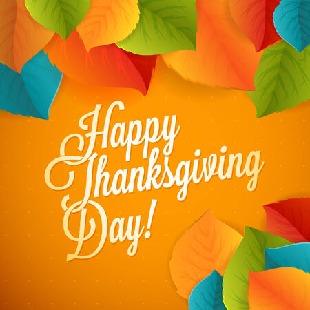 Happy Thanksgiving greeting leaf card with polka dot background Vector