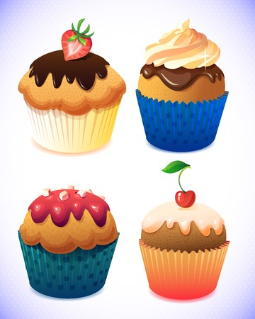 cupcake pack. Chocolate and vanilla icing cupcakes. Strawberry, cherry and cream Illustration