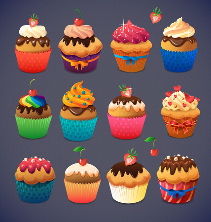 Super cupcake pack. Chocolate and vanilla icing cupcakes. Strawberry and cherry and cream Illustration