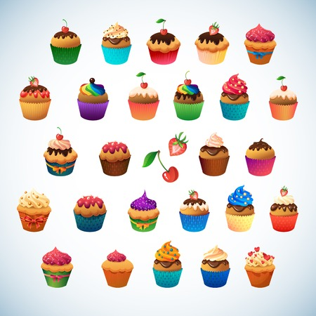 cup cakes: Super cupcake pack. Chocolate and vanilla icing cupcakes.Strawberry, cherry, cream
