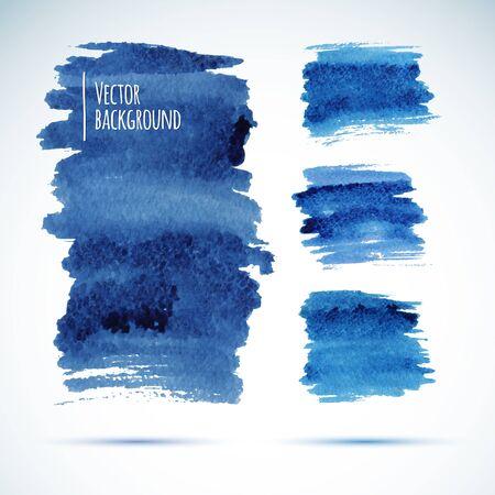 brushstroke: Brushstroke banners Ink blue watercolor spot backgrounds.  Illustration