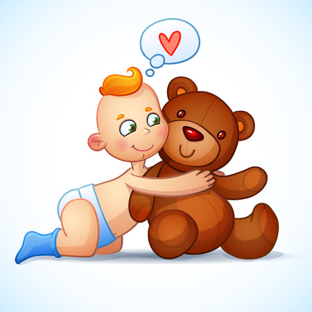 Baby boy redhead hugs  Teddy Bear toy on a white background. Teddy plush toy. Little boy lovingly looking at the bear