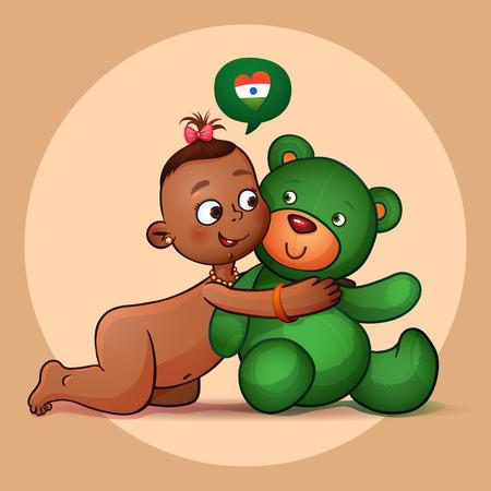 Little Indian girl hugging  teddy bear green. Vector