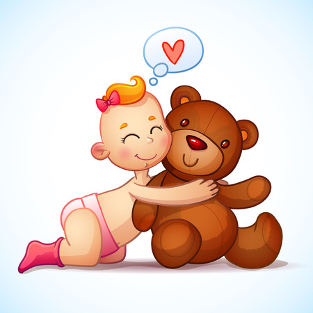 Baby girl redhead hugs  Teddy Bear toy on a white background. Teddy plush toy. Little girl lovingly looking at the bear Stock Illustratie