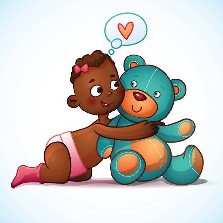 African American girl hugs  Teddy Bear toy on a white background. Teddy plush toy. Little cute girl lovingly looking at the bear Vector