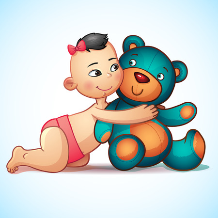 asian baby girl: Asian baby girl with hugs  Teddy Bear toy on a white background