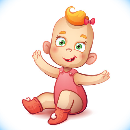 Little and baby girl. Adorable baby vector illustration. Happy cartoon child Vector
