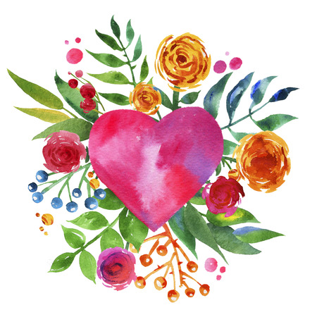 Vintage background with flowers in love and flower heart, Beautiful watercolor floral heart. Love Heart icon. Summer botanical elements. Love card with watercolor floral bouquet. Reklamní fotografie - 39308624