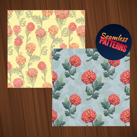 tiny: Seamless floral pattern set. Seamless summer tiny floral patterns on wood background. Illustration