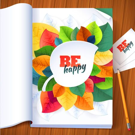 Nature rainbow leaves concept card.   Vector leaves abstract background with pencil Vector