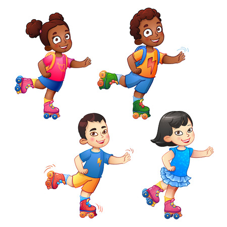 Rollerblading children boys and girls. African American children and Asian children. Children in sport, enjoy the speed and childhood. Little dark-skinned and asian children ride on roller skates