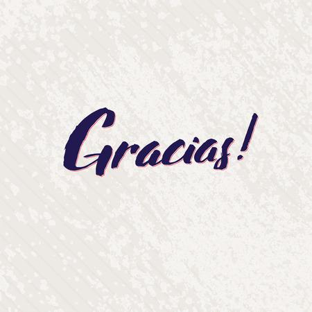 typography signature: Gracias Mano espa�ol letras hechas a mano vector de la caligraf�a. Simple plantilla de dise�o de texto con estilo en el fondo brillante, ilustraci�n vectorial Vectores