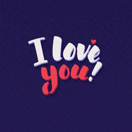 letter i: I Love You lettering handmade vector calligraphy. Simple stylish text design template on bright background, vector illustration Illustration