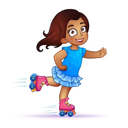 latina: Little girl Latina rides on roller skates. Teen rides on roller skates and enjoy the speed and freedom. girl in dress on roller skates. isolated vector illustration Illustration