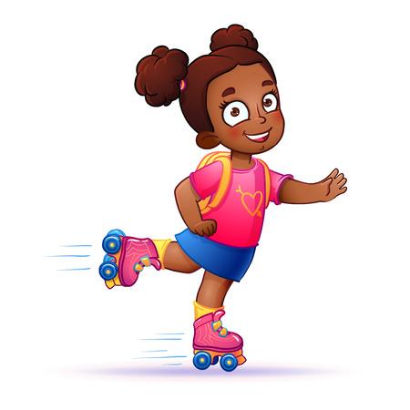 Little girl dark skin rides on roller skates. Teen rides on roller skates and enjoy the speed and freedom.  girl in dress on roller skates. isolated vector illustration Vectores