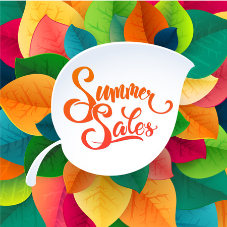 Summer sale leaves promotoin poster. Card template. Vector