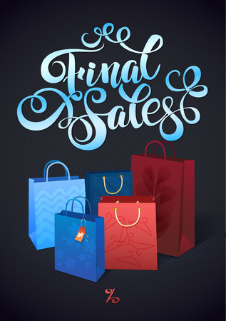 finale: Sale poster with percent discount. Illustration of paper shopping bags. Shopping sale design template