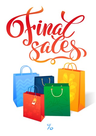 Sale poster with percent discount. Illustration of paper shopping bags. Shopping sale design template Vector