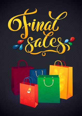 fashion bag: Sale poster with percent discount. Illustration of paper shopping bags. Shopping sale design template