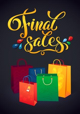 Verkoop poster met procent korting. Illustratie van papier boodschappentassen. Winkelen verkoop ontwerpsjabloon Stock Illustratie