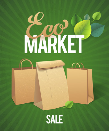 paper bags: Eco Market Sale. Paper bags on green background