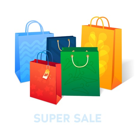 finale: Sale poster with percent discount. Illustration of paper shopping bags