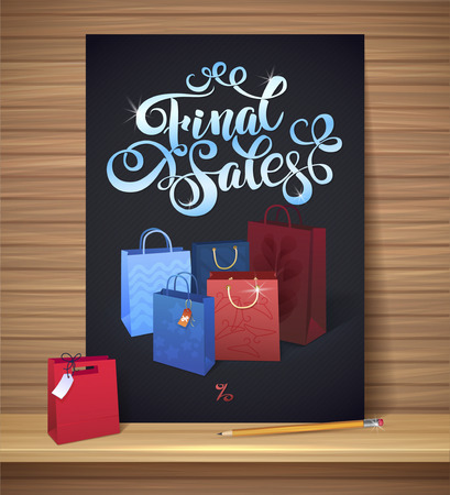 Sale poster with percent discount. Illustration of paper shopping bags and lights Illustration