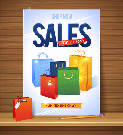 paper bags: Sale poster shopping paper bags Illustration of percent  discount Illustration