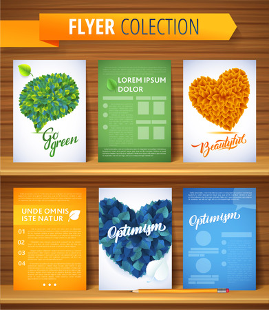 inspected: Ecology love leaf heart set.  Nature rainbow leaves concept card.   Vector leaves abstract background Illustration