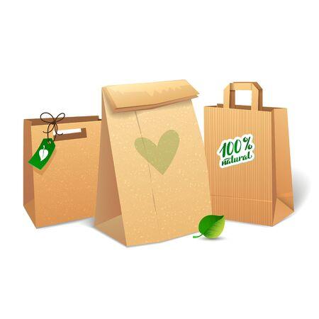 paper craft: Bolsas de la compra que ahorran el medio ambiente. Bolso de compras de papel. Eco Mercado Promo Vectores