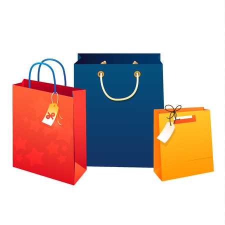 Sale poster  Illustration of paper shopping bags. Reklamní fotografie - 41725387
