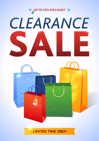 Clearance Sale Poster with percent discount. Illustration of paper shopping bags and lights. Ilustrace